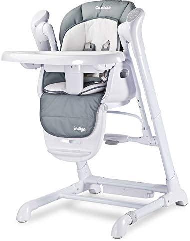 La chaise haute INDIGO de Caretero fait notamment balancelle et transat pour bébé.