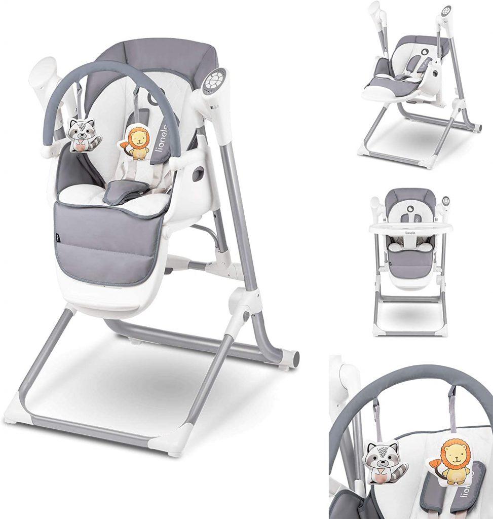 La chaise haute balancelle Lionelo est livrée avec une arche de jeux.