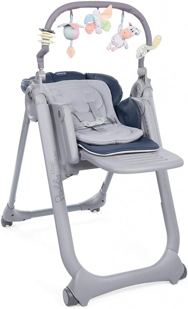 La chaise haute Chicco Polly Magic peut être utilisée comme chaise repas ou comme transat pour bébé.