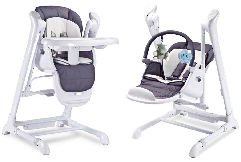 La chaise haute Splity 3 en 1 fait transat, balancelle et chaise haute pour bébé.