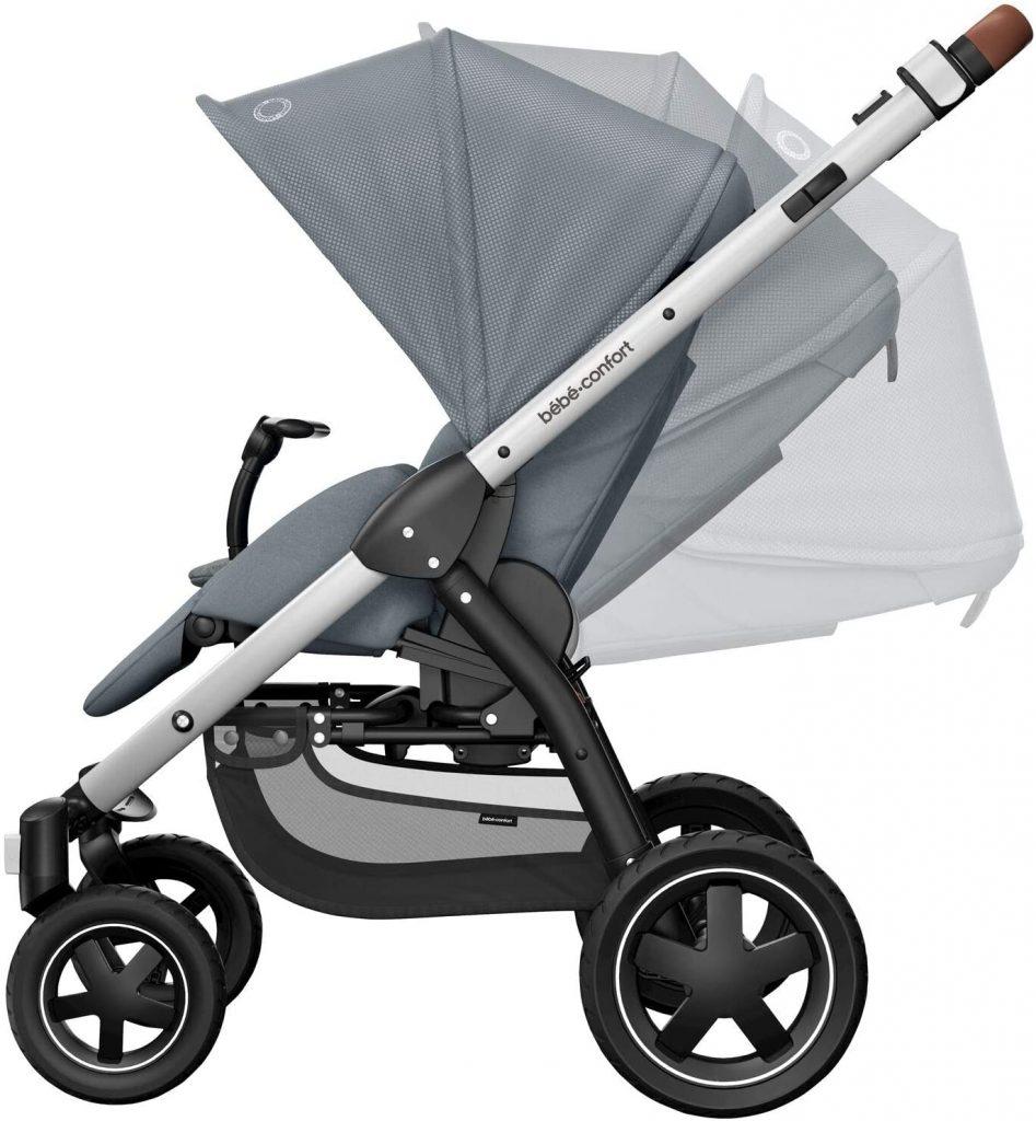 Le dossier du hamac de la poussette Bébé Confort Stella se règle pour s'adapter aux besoins de bébé.