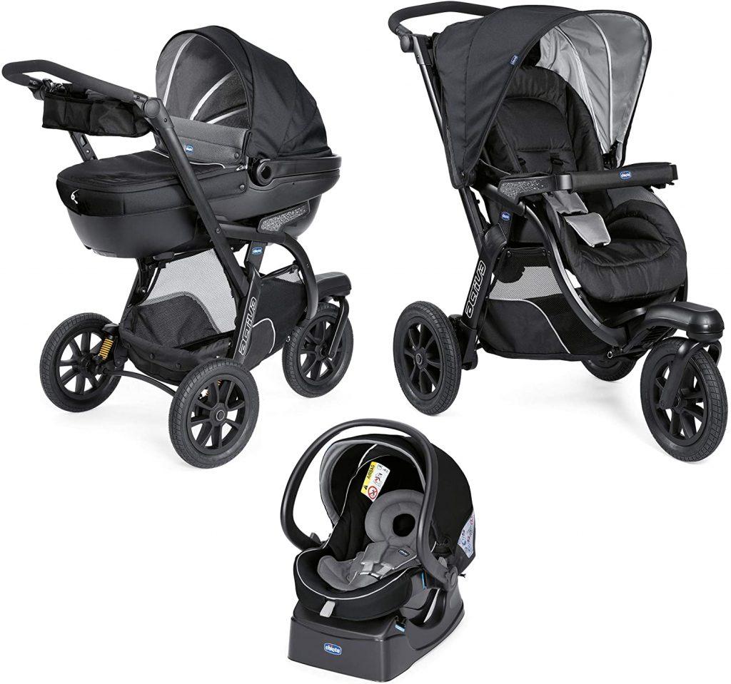 La poussette Chicco Activ3 comporte la nacelle et le siège auto pour une utilisation 3 en 1.