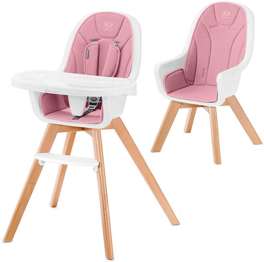 La chaise haute en bois évolutive TIXI de Kinderkraft a des pieds en bois.