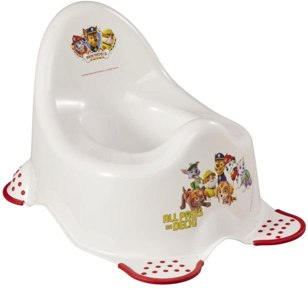 Ce pot pour enfant Pat Patrouille est principalement de couleur blanche.