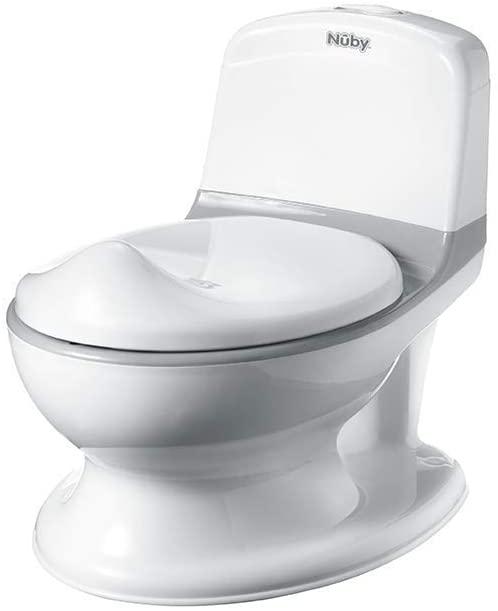 Ce toilette enfant miniature possède une chasse sonore.