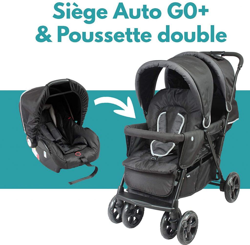 La poussette jumeaux Bambisol peut accueillir deux nouveau-nés.