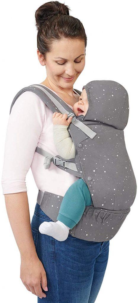 Ce porte bébé ergonomique Kinderkraft est de couleur grise.