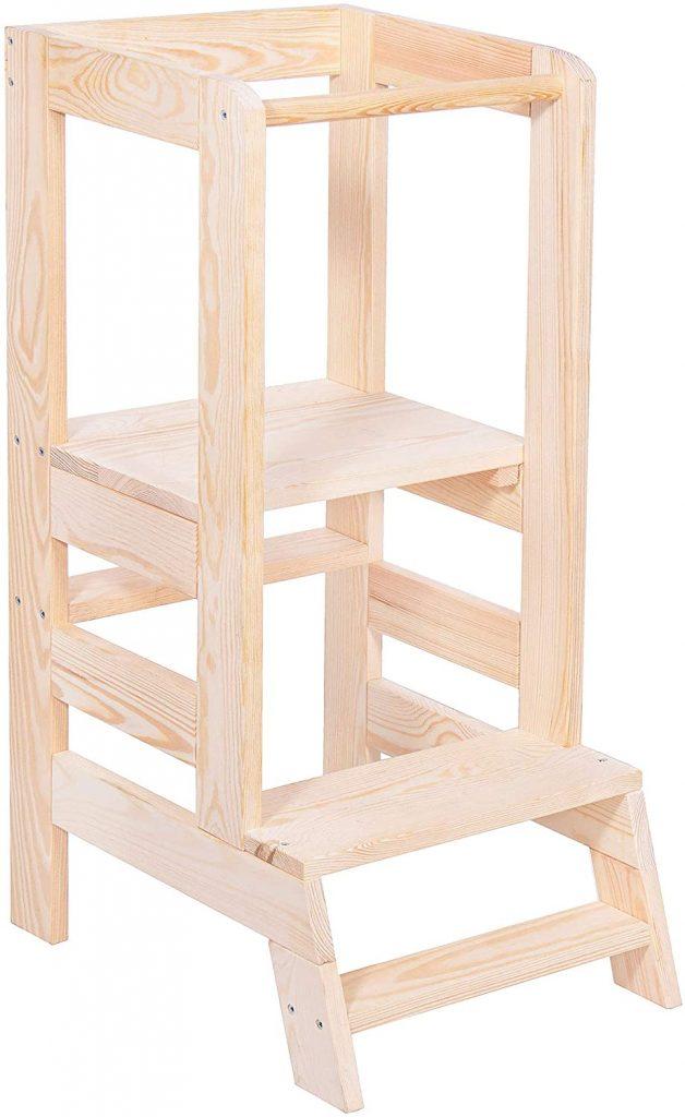 La tour d'apprentissage Springos est en bois de pin.