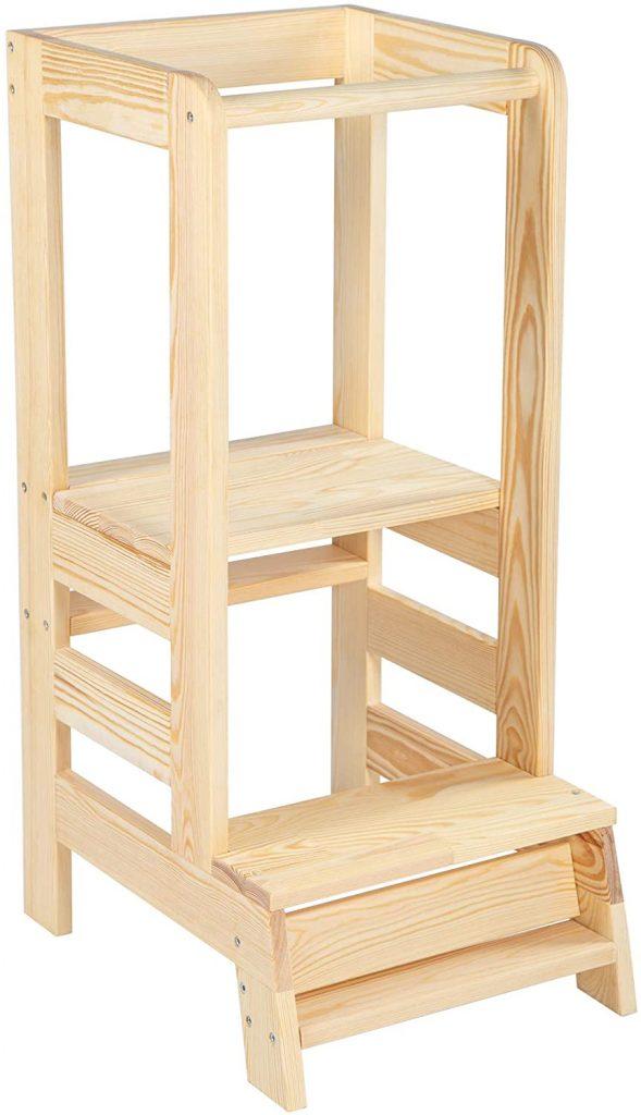 La tour Montessori Angelove a une plateforme ajustable en hauteur.
