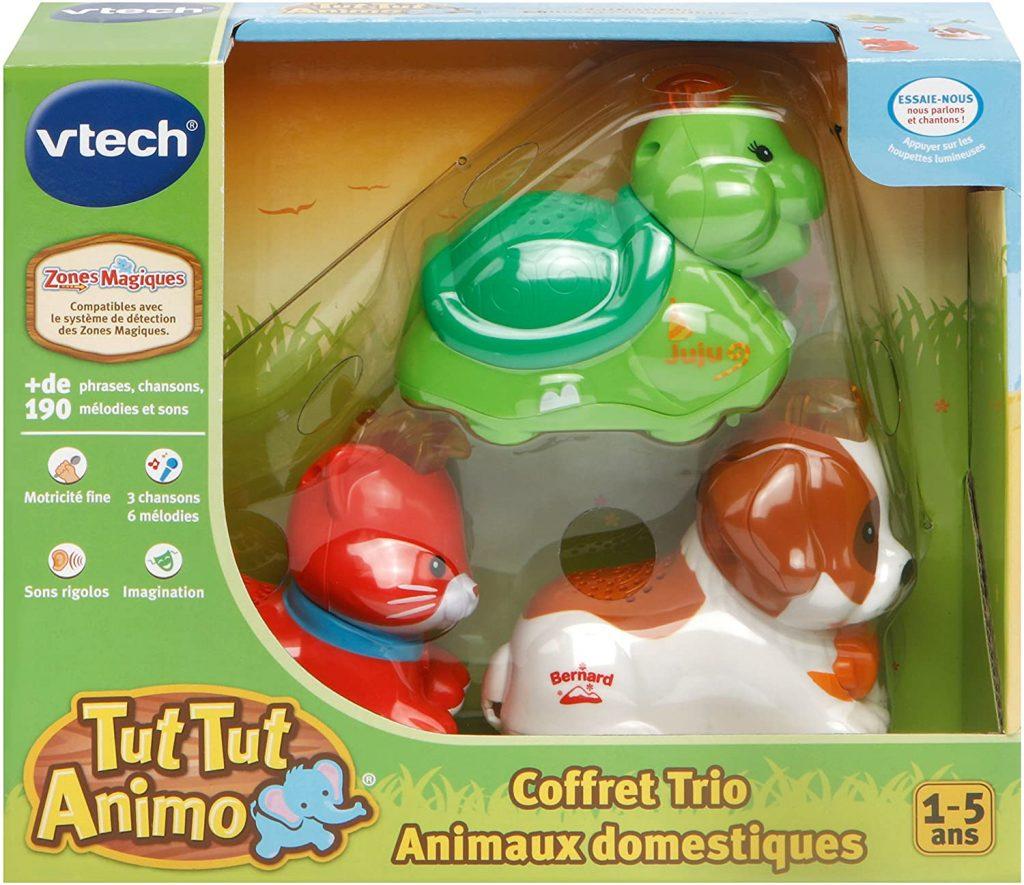 Le coffret Tut Tut Animo domestique de Vtech comporte une tortue, un chien et un chat.