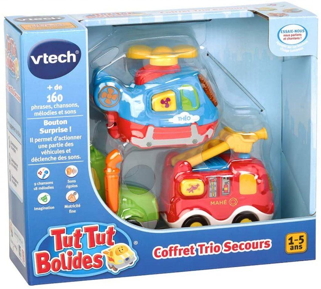 Le coffret Tut Tut Bolide pompiers comporte un véhicule de pompiers.