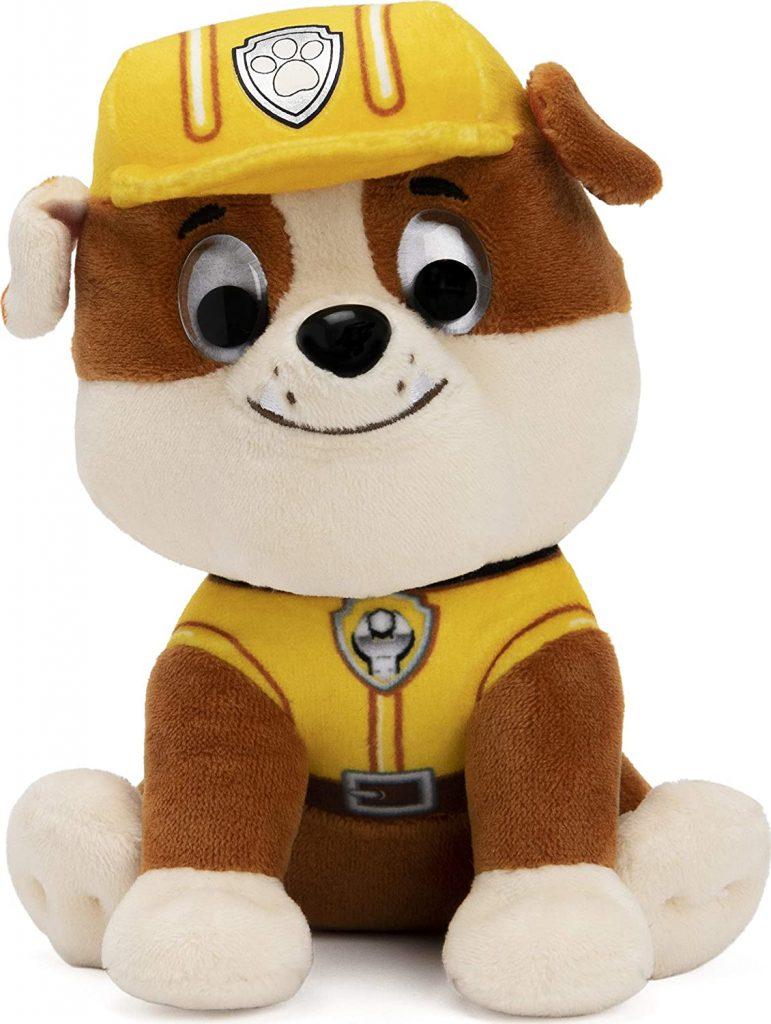 La peluche de Ruben de la Pat Patrouille représente un bulldog.
