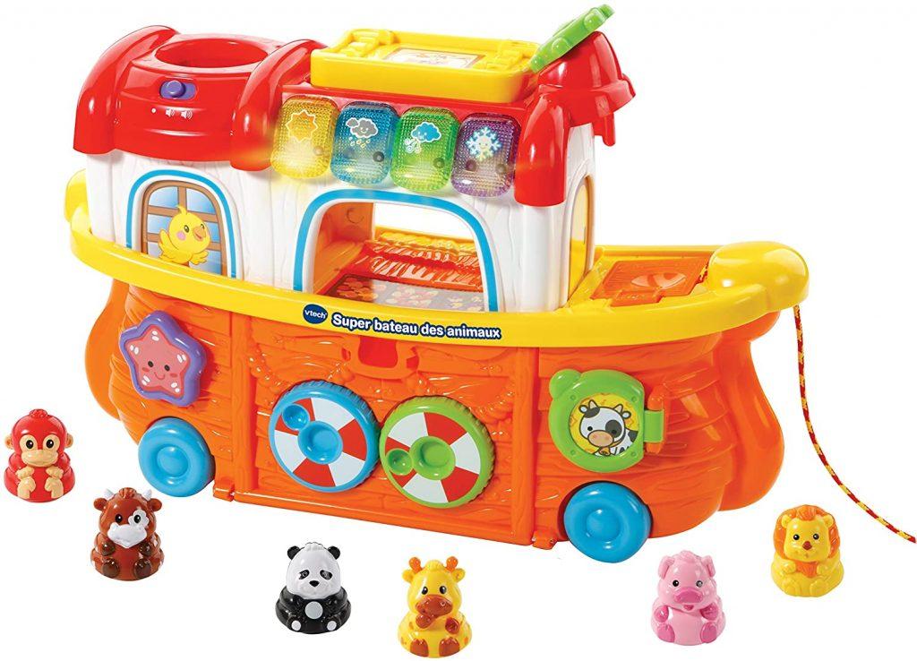 Le super bateau des animaux Vtech comporte 6 petits animaux culbutos.