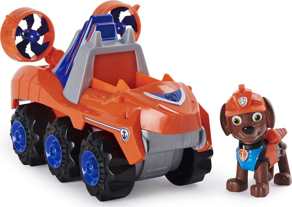 Le véhicule Dino Rescue de Zuma de la Paw Patrol est orange.
